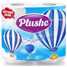 Туалетная бумага PLUSHE Light, 4 рул., 2 сл, 15м, белая/пастель.12 в упак.