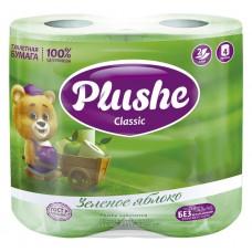 Туалетная бумага Plushe Classic 'Зел. яблоко' 4 рул по 18 м, 2 сл, зел.пастель, 12 в упак