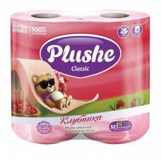 Туалетная бумага Plushe Classic 'Клубника' 4 рул по18 м, 2 сл, розов.пастель, 12 в упак