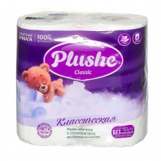 Туалетная бумага Plushe Classic 4 рул. по 18 м, 2 сл, белая, 12 в упак