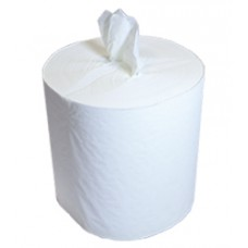 Полотенца бум. 1-сл. белые рулонные с центр.вытяжкой 120м. Целлюлоза (12рул/меш.)