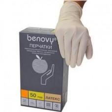 Перчатки латекс неопудр. Benovy р.M (50пар/уп)